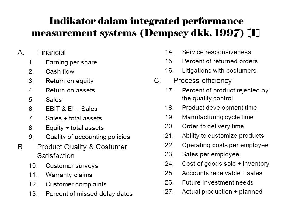 Indikator dalam integrated performance measurement systems (Dempsey dkk, 1997) [1]
